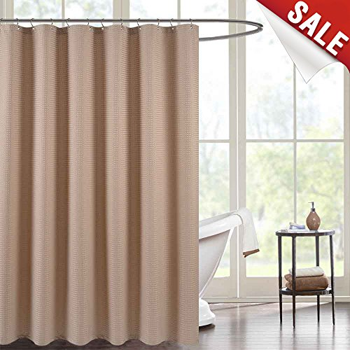 jinchan Water-Repellent Shower Curtain for Bathroom Waffle Weave Fabric Shower Curtain in Bath 70 by 72 Inch Taupe