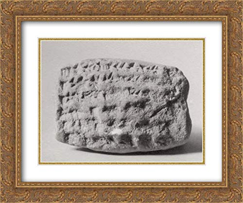 Archive Stone (Babylonian Culture - 24x20 Gold Ornate Frame and Double Matted Museum Art Print - Cuneiform Tablet: Record of Stones, Ebabbar Archive)