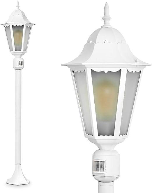 Exterior Lámpara de pie Hong Kong Frost con detector de movimiento y leche Cristal – Clásica poste de aluminio color blanco para jardín – exteriores – IP44: Amazon.es: Iluminación