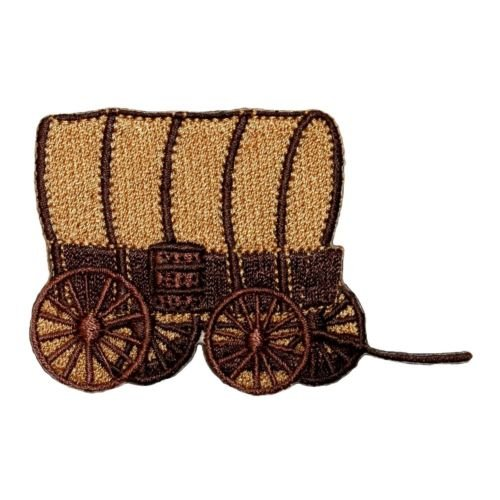 Logo patch embroidered)ID 1324 Covered Wagon Patch Oregon Trail Caravan Embroidered Iron On Applique + E-book with - Caravan Pictures