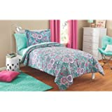Fun, Soft and Lovely Mainstays Kids Floral Medallion Bright Teal and Pink Bed in a Bag Complete Bedding Set, Twin, Perfect for Girls Room
