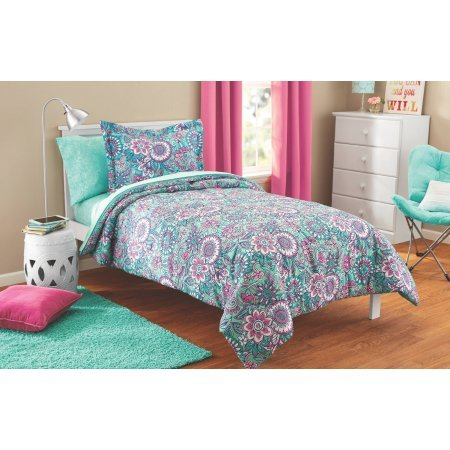 Fun, Soft and Lovely Mainstays Kids Floral Medallion Bright Teal and Pink Bed in a Bag Complete Bedding Set, Twin, Perfect for Girls (Pink Bed Bag)