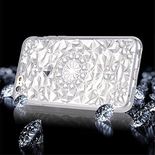 SULADA 3D Diamond Pattern Glittery TPU Cell Phone Tasche Hüllen Schutzhülle - Case für iPhone 6s Plus / 6 Plus - Weiß