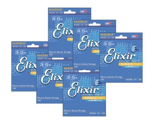 Elixir 12102 Medium Nanoweb Electric Guitar Strings (6-pack)