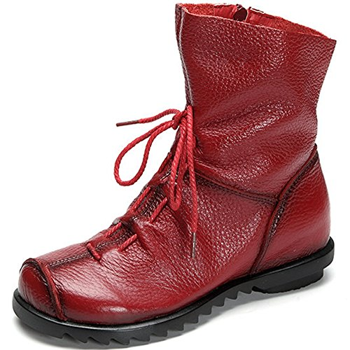 Womens Genuine Leather Casual Soft Flat Boots Red