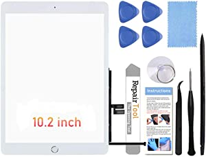 """Fixerman Touch Screen for iPad 7th Gen 8th Gen Digitizer 10.2""""(A2197 A2198 A2200,A2270, A2428, A2429, A2430) Glass Replacement Parts(NO LCD),with Home Button+Pre-Installed+Repair Tools(White)"""
