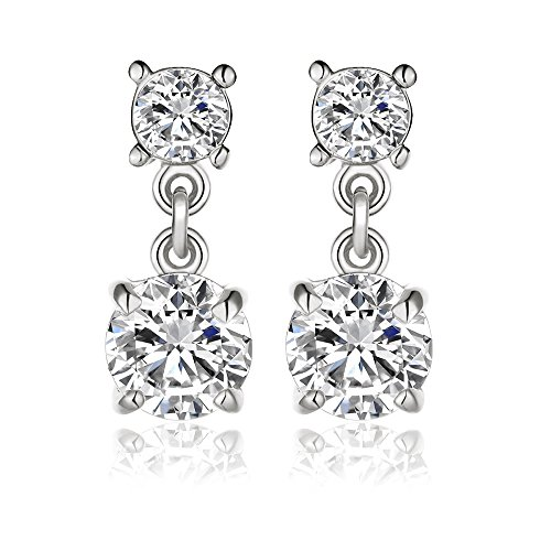 KIMING 14k White Gold Overlay Naked Drill Cubic Zirconia Element Crystal Earrings ()