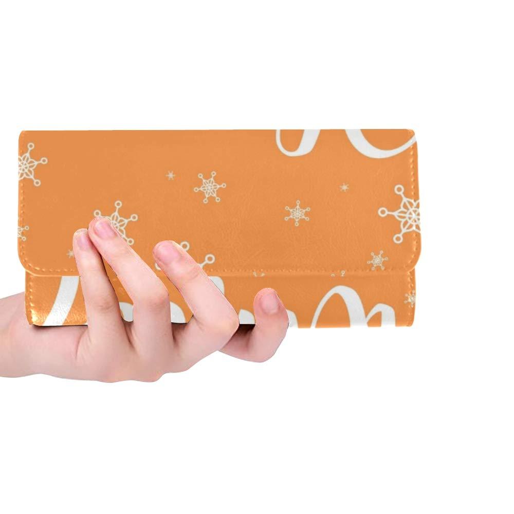 Unique Custom Bonjour Hiver Noël Nouvel an Calligraphique Femmes Trifold Portefeuille Longue Bourse Carte De Crédit Titulaire Cas Sac À Main
