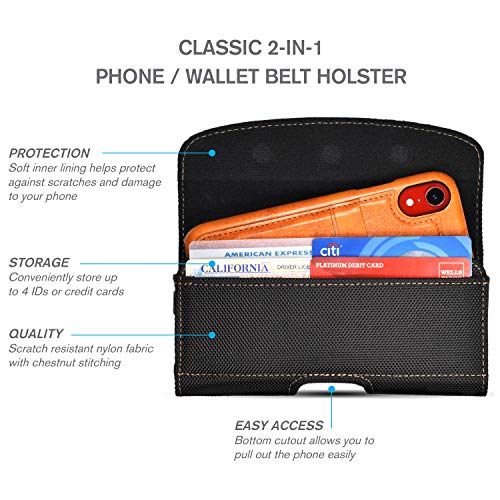 Nylon Phone Holster for Samsung S10 Plus, S9 Plus, S10, S9, Note 9, Note 8  with Slim Case  Chestnut Stitching, Card Holder, Strong Magnetic Closure