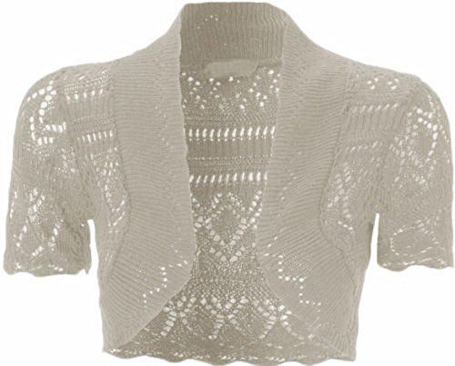 Womens Knitted Bolero Shrug Short Sleeve Crochet Shrug (M, Beige)