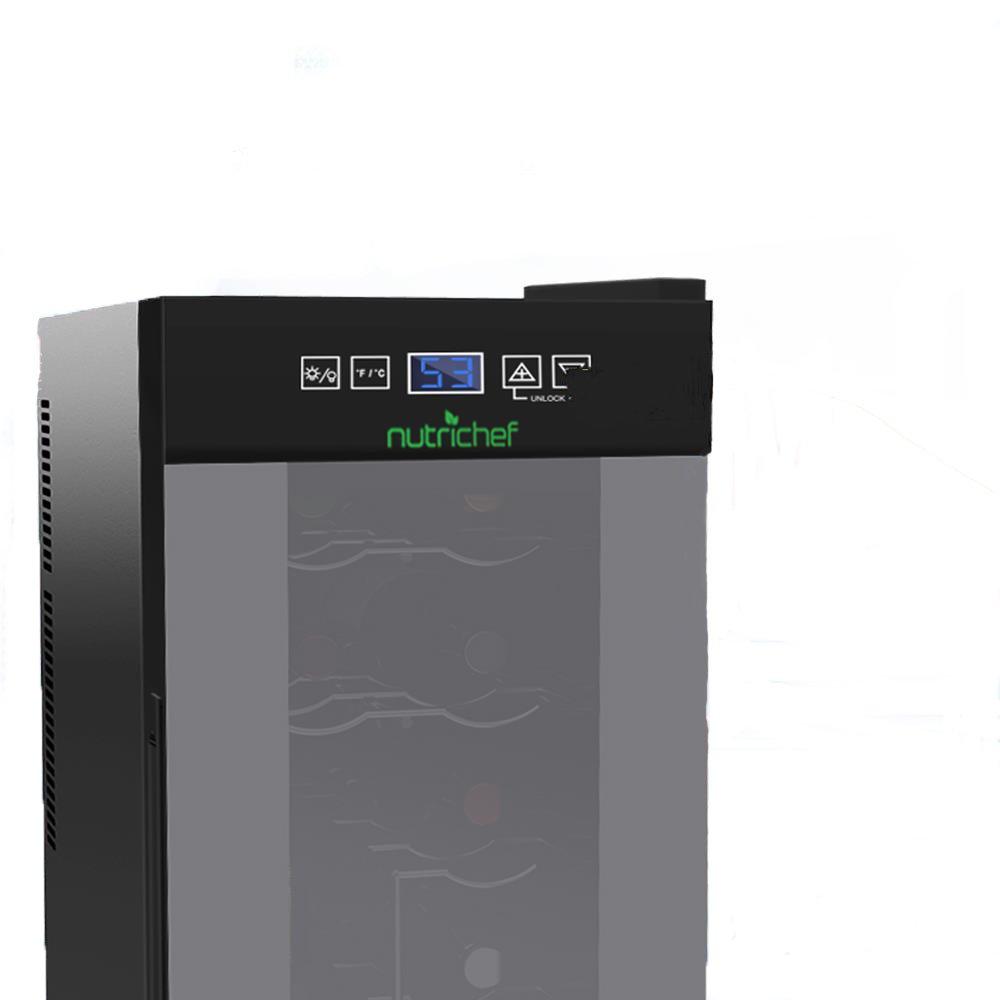 NutriChef AZPKTEWC120 12 Bottle Wine Cooler Refrigerator