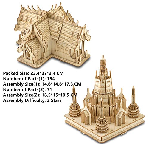 2 Pieces of Set DIY Education Toy 3D Wooden Model Puzzles Temples in Thailand
