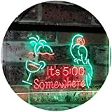 AdvpPro 2C It's 5:00 Somewhere 5pm Cocktails Bar Décor Parrot Palm Tree Dual Color LED Neon Sign Green & Red 12'' x 8.5'' st6s32-i2560-gr