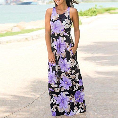 Floral Women Purple Sleeveless Long Plus Dress with Beach Maxi Tank Pockets Size Clearance Summer Sundress qfAIEwA