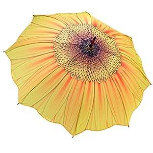 Yellow Sunflower Bloom Stick Umbrella Auto Release