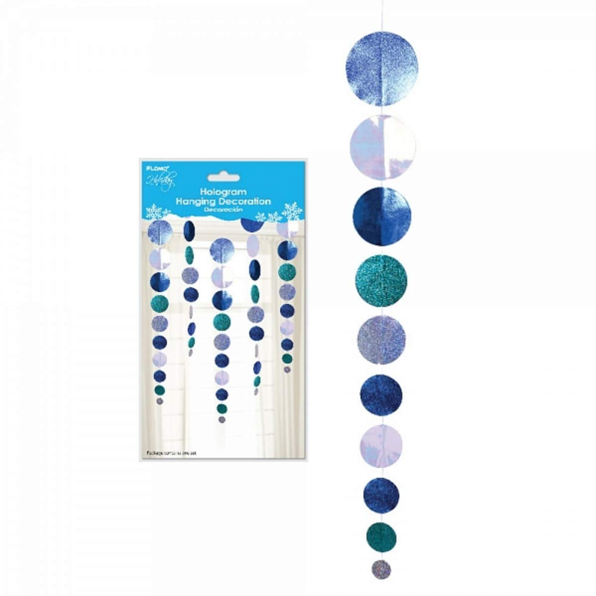 Holographic Circles Hanging Holiday Christmas Hanukkah New Years Eve Party Decoration 40 Inches Flomo