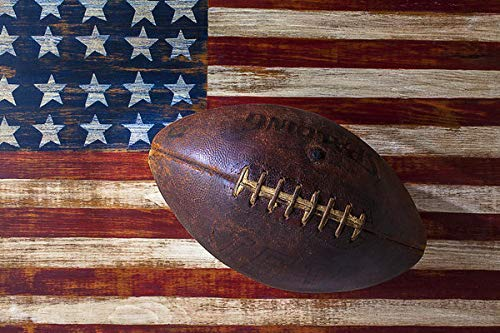 (70x80cm, 5D Diamond Painting Kit by Number Old Football On American Flag Full Drill Diamond Painting Kit Home Wall Decor)
