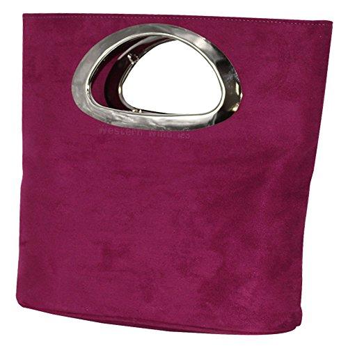 Evening Tote Italian Clutch Plain Handle Foldable White Red Leather Purple Suede Ivory Black Bag Real Bag Wocharm Top Grey Ladies Womens xwqzvWXOp
