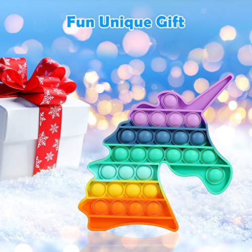 Rainbow Unicorn Pop Its Fidget Toy 1 Pack Pop Push Popping Bubbles Silicone Squeeze Sensory Toys Gifts for Anxiety /& Stress Relief Puzzle Game Educational School Crafts for Kids Teens Office
