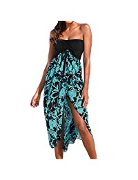 ADEWEL Women's Off Shoulder Black White Print Beach Cover Up Chiffon Maxi Dresses