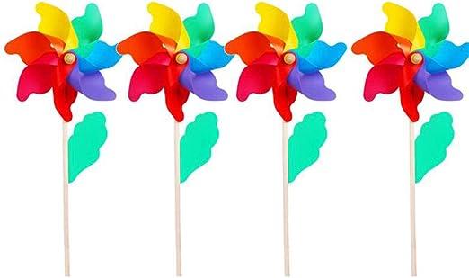 Molinos De Viento para Niños,10 Piezas Rainbow Molinillo De Viento, Molino De Viento DIY, Hermosa Decoración para Jardín, Sala Infantil, Fiesta O Escaparate: Amazon.es: Hogar