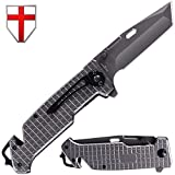 Grand Way Tanto Spring Assisted Pocket Knife - Pocket Folding Knife - Military Style - Boy Scouts Knife - Tactical Knife - Good for Camping, Indoor and Outdoor Activities FL 13069