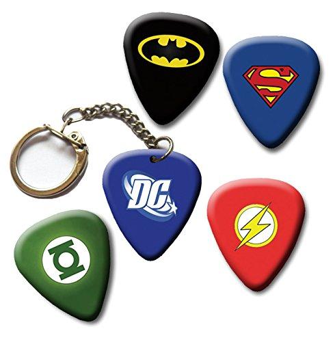 DC Mix Superhero Guitar picks plus Key chain, Batman, Superman, Green Lantern, Flash