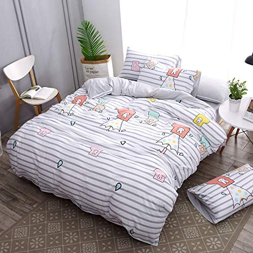 (ughome Grey Striped Duvet Cover Set Queen Cute Printed Comforter Cover with 2 Pillowcases,Soft Bedding Set for Boys Girls (Striped,Queen/Full))