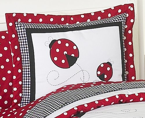 Sweet Jojo Designs Red and White Ladybug Polka Dot Pillow Shams ()