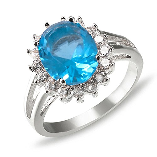 Lavencious Oval Round Shaped CZ Rings Wedding Party Statement Engagement Inspired Cocktails For Woman Size 5-10 (Aqua Blue, 10)