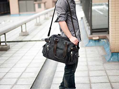 Outdoor Peak Handbag Leisure Bag Travel Mens Black black Canvas Shoulder Sportbag UUSqwr