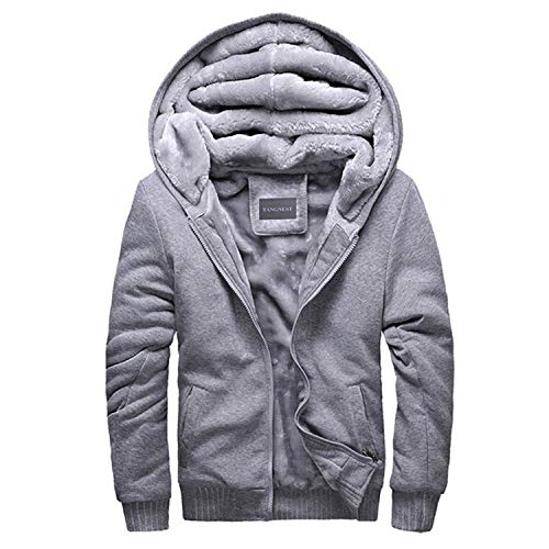 Cyose Fashion Man's Casual Soft Thick Men Hoodies Warm Hoodie for Male Plus 5 Colors Light Grey XL
