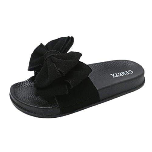 ZEELIY Femmes Sandales Ete Chaussures,Femme Claquettes Plates Sandales Tongs Chaussures de Plage,Mode Féminine Couleur Unie Noeud Papillon Sandales