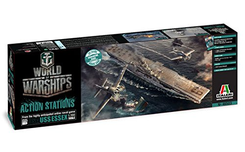 Italeri 46503 World of Warships WoWS U.S.S. Essex Aircraft Carrier Plastic Model Kit with WoW Bonus Codes, 1:700 Scale