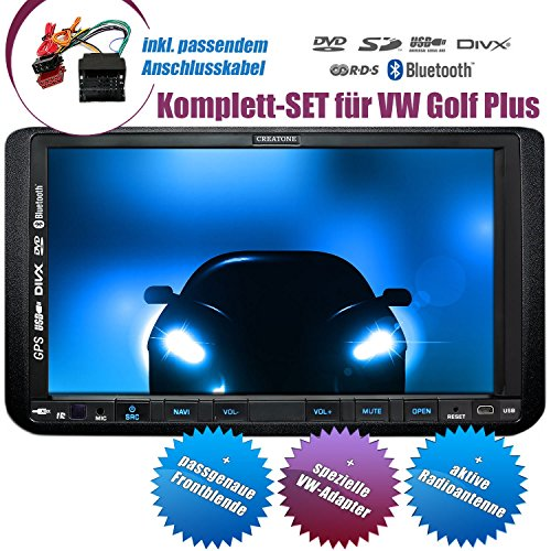 2DIN Autoradio CREATONE CTN-9268D56 für VW Golf Plus (2004 - 2014) mit GPS Navigation, Bluetooth, Touchscreen, DVD-Player und USB/SD-Funktion