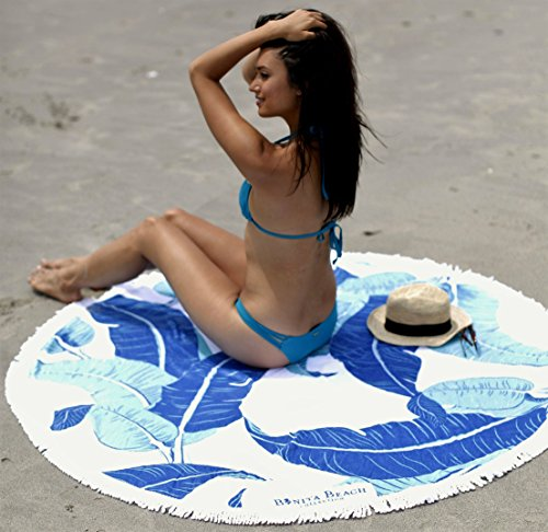Bonita Beach Collection Round 'Roundie' Beach Towel Thick Terry Cotton with Fringe (Riviera Blanket Tote)