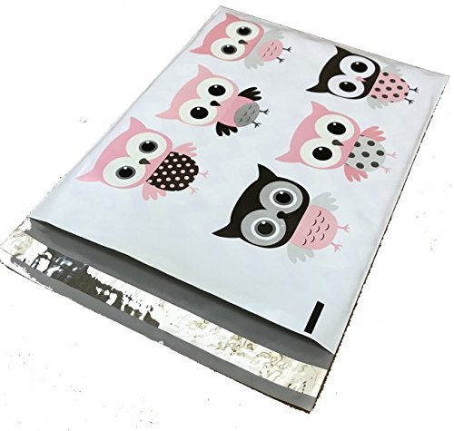 (10x13 - Cute Grey Chevron Owl Designer Printed Poly Mailers Shipping Envelopes Self Sealing Boutique Custom Bags (30 Pcs))
