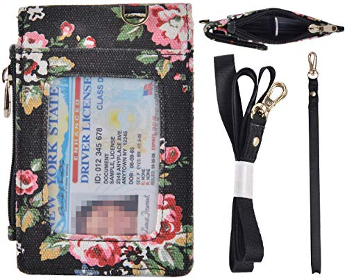 Beurlike Floral 2-Sided ID Badge Holder Wallet with 1 ID Window, 3 Card Slots with Cover, 1 Side Zipper Coin Pocket, 1 Piece 18.1