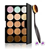 Tonsee Pro Cosmetic Makeup Brush Face Powder Blusher Toothbrush Curve Brush Foundation + 15 Colors Concealer