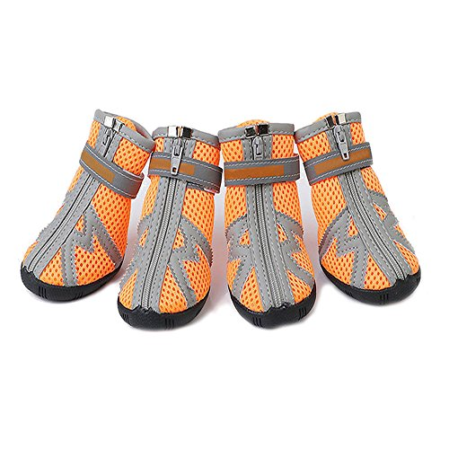 ASOCEA Pet Dog Breathable Mesh Sandals Shoes Paw Protector with Reflective strip Anti-Slip Sole for Dogs 5 Sizes Orange (1)