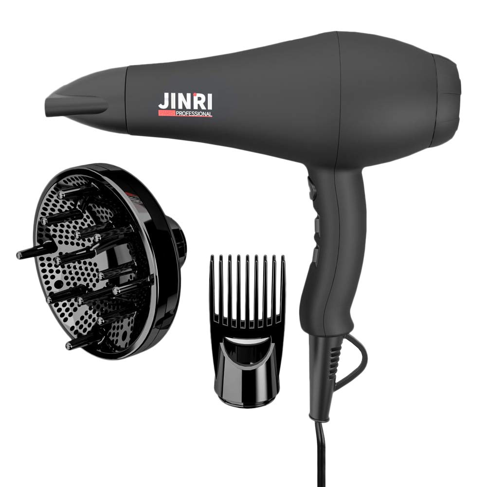 1875W Professional Hair Dryer, Jinri 3 Minute Fast Drying Infrared Blow Dryer with Diffuser & Comb & Concentrator, Negative Ionic Salon Hairdryer AC Motor with 2 Speed and 3 Heat Setting Black by Jinri