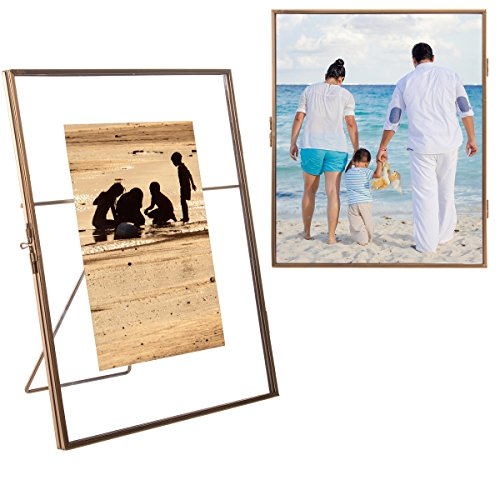 Concepts In Time (2 Pack) Floating Metallic Picture Frames Free Standing Glass For 5x7 Or 8x10 Photos (Glass Floating Frame)