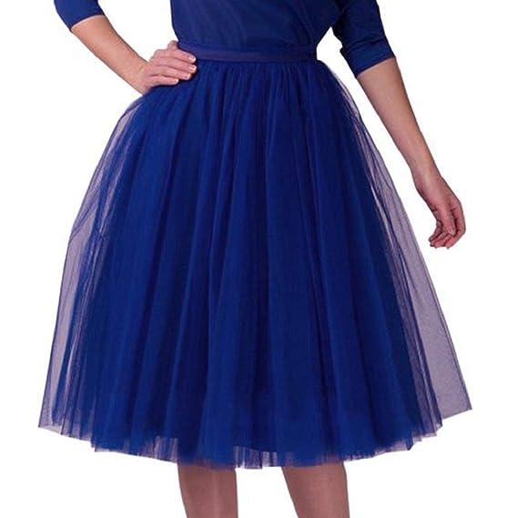 a7b26b3e3c VJGOAL Damen Röcke, Tutu Rock Damen Mädchen Faltenrock Tanzrock Ballrock  Solid Minikleid Mode Abendkleid Rock(Blau,One Size): Amazon.de: Bekleidung