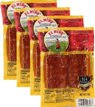 Chorizos El Miño . 4 chorizos per pack 7 oz. Total 16 Chorizos by El Miño
