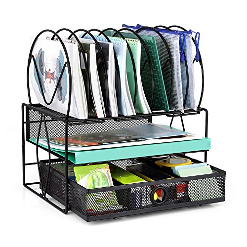Desk File Organizer, GBTIGER Mesh Desk File Organizer with Sliding Drawer, 8 Vertical and 2 Horizontal Sections Document Holder for Home and Office, Black by GBTIGER