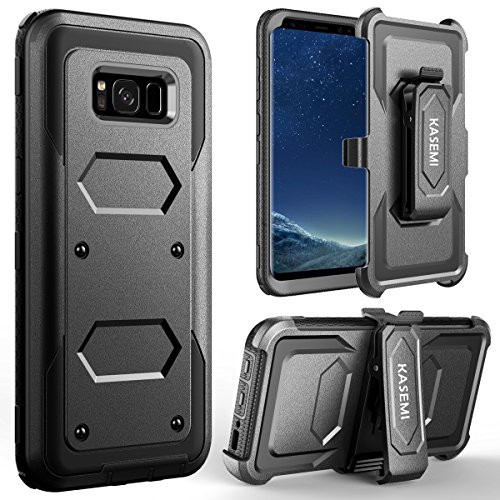 KASEMI Galaxy S8 Plus Case, Heavy Duty Dual Layer Protection Locking Belt Swivel Clip Holster with Kickstand Case for Samsung Galaxy S8 Plus (2017)-Black