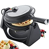 VonShef Waffle Maker | 180° Rotating Waffle Iron with Adjustable Temperature Control and Non-Stick Plates | 1000W