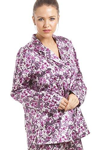 Camille - Conjunto de pijama satinado para mujer - Estampado floral Fucsia / rosa