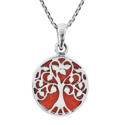Wonderful Red Coral Necklace (Amazing Tree of Life with Reconstructed Red Coral Accents .925 Sterling Silver Pendant Necklace)
