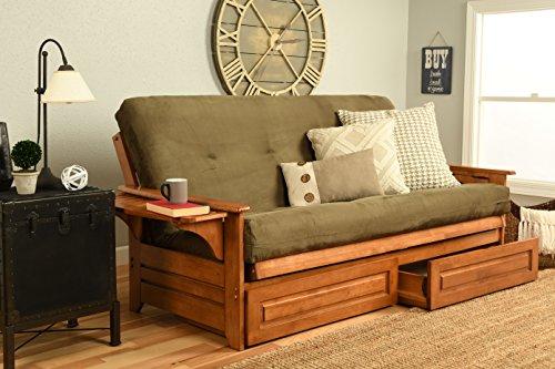 Kodiak Furniture KF Phoenix Futon in Barbados Finish, Full Size, Suede Olive